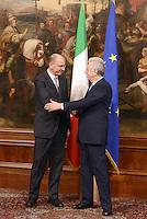 Roma, 28 Aprile 2013.Palazzo Chigi.Primo giorno del Governo Letta.Nella foto Mario Monti e Enrico Letta per il Passaggio di consegne