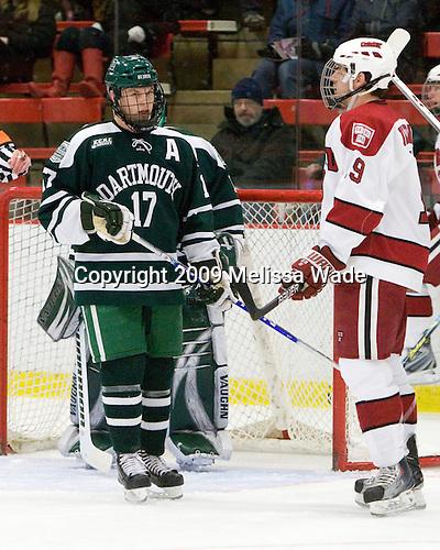 Scott Fleming (Dartmouth - 17), Alex Killorn (Harvard - 19) - The Harvard University Crimson defeated the Dartmouth College Big Green 4-1 (EN) on Monday, January 18, 2010, at Bright Hockey Center in Cambridge, Massachusetts.