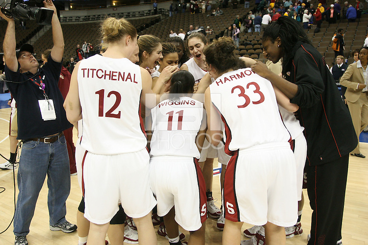 20 March 2006: Christy Titchenal, Krista Rappahahn, Brooke Smith, Rosalyn Gold-Onwude, Morgan Clyburn, Shelley Nweke, Jillian Harmon and Candice Wiggins during Stanford's 88-70 win over Florida State in the second round of the NCAA Women's Basketball championships at the Pepsi Center in Denver, CO.
