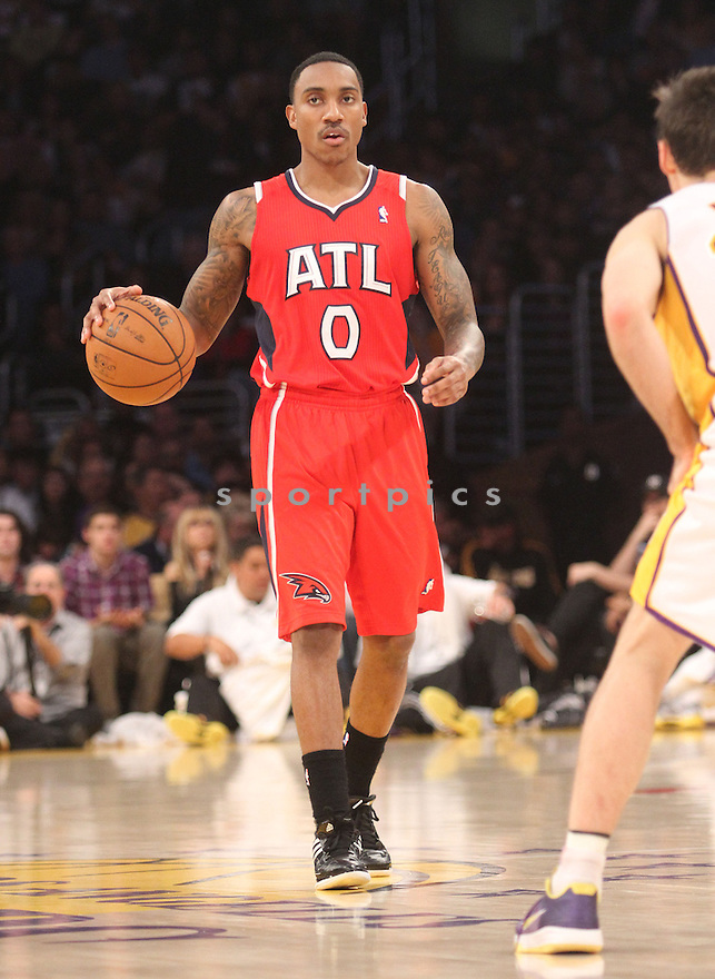 Atlanta Hawks Jeff Teague (0) during a game against the LA Lakers on March 3, 2013 at the Staples Center in Los Angeles, CA. The Lakers beat the Hawks 99-98.