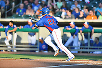 Tennessee Smokies first baseman Jason Vosler (22) runs to first base during a game against the Mobile BayBears at Smokies Stadium on June 2, 2018 in Kodak, Tennessee. The BayBears defeated the Smokies 1-0. (Tony Farlow/Four Seam Images)