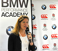 Mortimer, England, Sophie Goldschmidt, the RFU's Chief Commercial Officer during the Launch of BMW Group UK's new partnership with the RFU including investment in the RFU National Academy Programme and front of shirt sponsorship for the England Under-20, Under-18 and Under-16 squads at  BMW Group Academy, Mortimer, England, September 25.