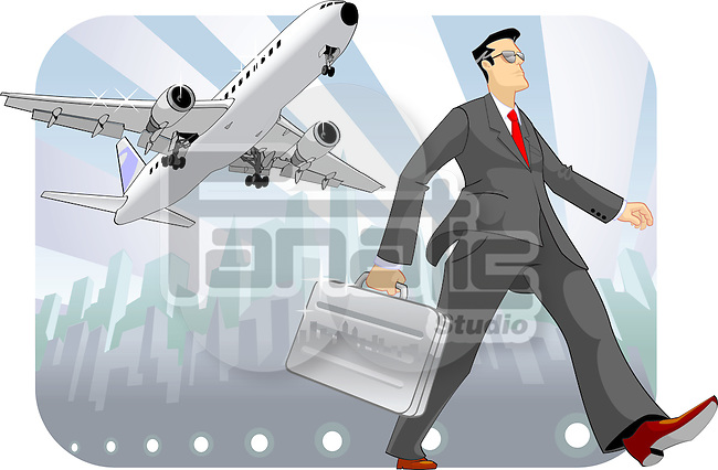 Businessman holding a briefcase and walking
