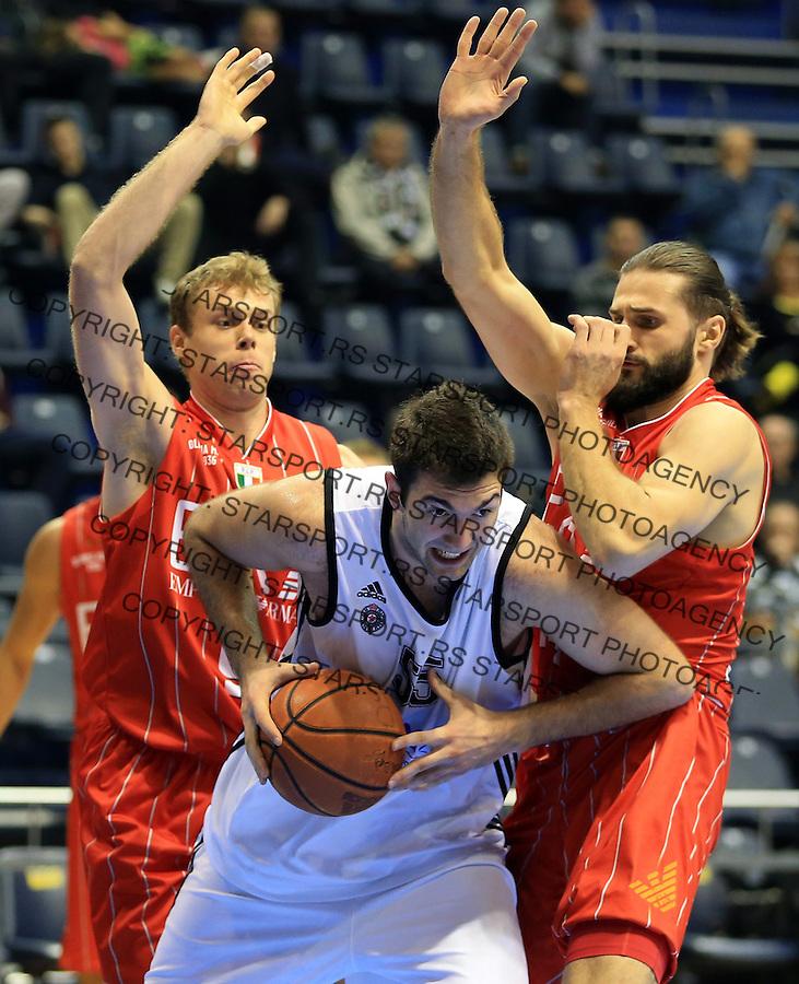 Kosarka Friendly match season 2014-2015<br /> Partizan Vs. Armani Jeans<br /> Djoko Salic (C) Linas Kleiza (R) and Nicolo Melli (L)<br /> Beograd, 25.09.2014.<br /> foto: Srdjan Stevanovic/Starsportphoto&copy;