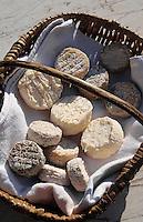 Europe/France/Auvergne/12/Aveyron/Villefranche-de-Rouergue: Fromages fermiers de chèvre sur le marché de la place Notre-Dame