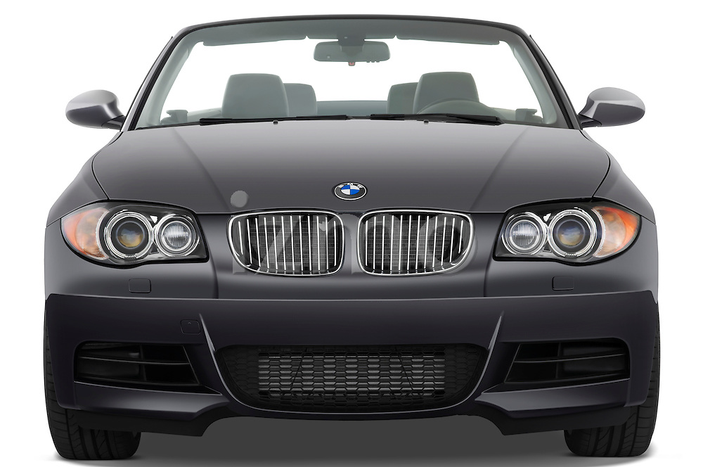 Straight front view of a 2007 - 2011 BMW 1-Series 135i convertible.