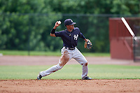GCL Yankees East second baseman Miguel Marte (1) throws to first base during a Gulf Coast League game against the GCL Phillies West on August 3, 2019 at the Carpenter Complex in Clearwater, Florida.  The GCL Phillies West defeated the GCL Yankees East 15-7 in a completion of a game that was originally started on July 26, 2019.  (Mike Janes/Four Seam Images)