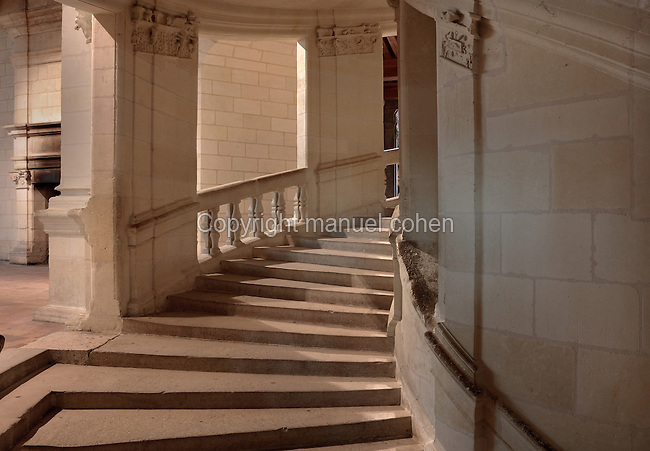 Double helix staircase in the Chateau de Chambord, designed by Domenico da Cortona and built 1519-47 in French Renaissance style under King Francois I, at Chambord, Loir-et-Cher, France. The open staircase is at the centre of the chateau with 2 helices rising over 3 floors without meeting and is lit from above by a 32m high roof lantern. The staircase is rumoured to have been designed by Leonardo da Vinci. The largest of the Loire Valley chateaux, Chambord has a central keep with 4 bastion towers on the corners, a moat and an elaborate decorative roofline. The chateau was listed as a UNESCO World Heritage Site in 1981. Picture by Manuel Cohen