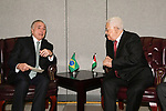 Palestinian President Mahmoud Abbas meets with Brazilian President Michel Temer in New York City, U.S. on September 19, 2017. Photo by Osama Falah