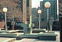 New York City: Riis Plaza, Jacob Riis Homes. Fountain turned off. Plaza, 1966 by M. Paul Friedlander & Simon-Breines. Photo '78.