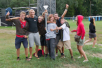 A group of participants enjoy their time on Sziget festival held in Budapest, Hungary on August 07, 2011. ATTILA VOLGYI
