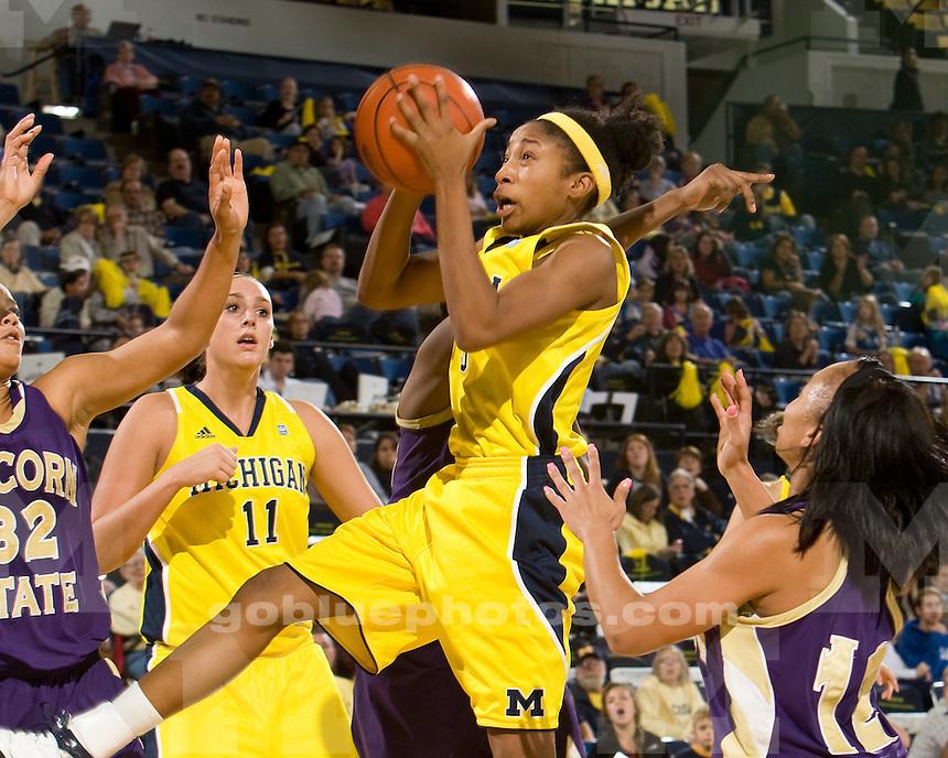 University of Michigan women's basketball 88-43 victory over Alcorn State at Crisler Arena in Ann Arbor, MI, on November 12, 2010.