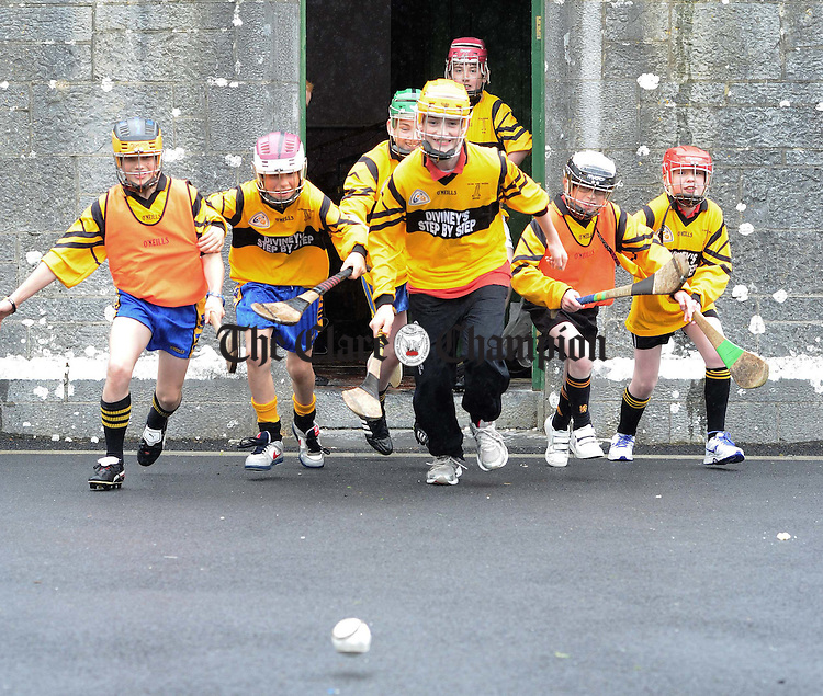 Heading out to the hurling field at Lough Cutra National School. Photograph by Declan Monaghan