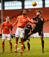 Blackpool's Nathan Delfouneso tangles with Walsall's Joe Edwards<br /> <br /> Photographer Richard Martin-Roberts/CameraSport<br /> <br /> The EFL Sky Bet League One - Blackpool v Walsall - Saturday 10th February 2018 - Bloomfield Road - Blackpool<br /> <br /> World Copyright &not;&copy; 2018 CameraSport. All rights reserved. 43 Linden Ave. Countesthorpe. Leicester. England. LE8 5PG - Tel: +44 (0) 116 277 4147 - admin@camerasport.com - www.camerasport.com