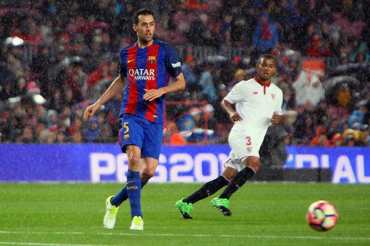 League Santander 2016/2017. Game: 30.<br /> FC Barcelona vs Sevilla FC: 3-0.<br /> Sergio Busquets vs Mariano.