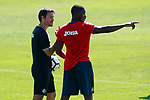 Getafe's Karim Yoda (r) with the physical trainer Javier Vidal during training session. September 12,2017.(ALTERPHOTOS/Acero)