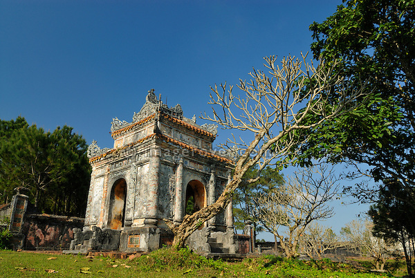 Asia, Vietnam, Hue. Tomb of Bao Dais mother Tu Cung. Designated a UNESCO World Heritage Site in 1993, Hue is honoured for its complex of historic monuments. Many of them are scattered across the scenic countryside to the south of Hue.