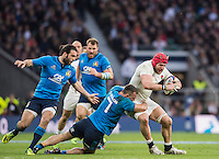 Twickenham, United Kingdom.   James HASKELL, tacled by Simone FAVARO as he moves towards the line during the Six nations Rugby International, England vs Italy at the   RFU Stadium, Twickenham, England, <br /> <br /> Sunday  26/02/2017<br /> <br /> [Mandatory Credit; Peter Spurrier/Intersport-images]