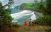 Two women at  Pololu Valley lookout, end of the road in North Kohala, Big Island