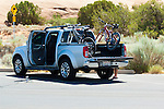 Pickup truck at mountain bike staging area