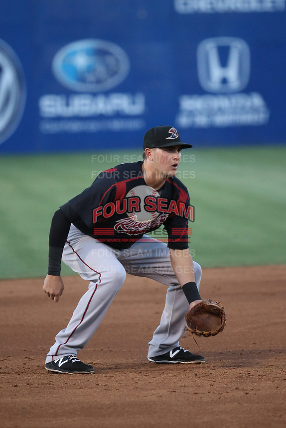 Ryder Jones (8) of the Sacramento River Cats in the field at third base during a game against the Las Vegas 51s at Cashman Field on June 15, 2017 in Las Vegas, Nevada. Las Vegas defeated Sacramento, 12-4. (Larry Goren/Four Seam Images)