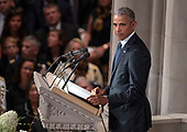 Former United States President Barack Obama speaks at the funeral service for the late US Senator John S. McCain, III (Republican of Arizona) at the Washington National Cathedral in Washington, DC on Saturday, September 1, 2018.<br /> Credit: Ron Sachs / CNP<br /> (RESTRICTION: NO New York or New Jersey Newspapers or newspapers within a 75 mile radius of New York City)