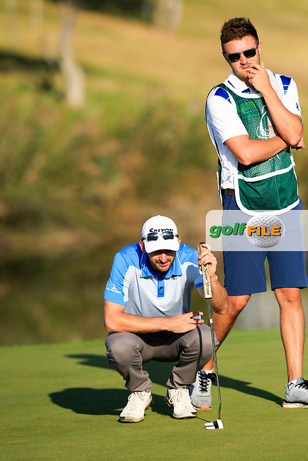 Chris Selfridge (NIR) on the 14th green during the 1st round of the 2017 Portugal Masters, Dom Pedro Victoria Golf Course, Vilamoura, Portugal. 21/09/2017<br /> Picture: Fran Caffrey / Golffile<br /> <br /> All photo usage must carry mandatory copyright credit (&copy; Golffile | Fran Caffrey)