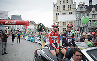 Thomas De Gendt (BEL/Lotto-Soudal) & John Degenkolb (DEU/Giant-Alpecin) during the pre-race parade<br /> <br /> Post-Tour Criterium Mechelen (Belgium) 2016