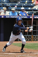 Durham Bulls infielder Shawn O'Malley #7 at bat during a game against the Louisville Bats at Durham Bulls Athletic Park on May 2, 2012 in Durham, North Carolina. Durham defeated Louisville by the score of 7-5. (Robert Gurganus/Four Seam Images)
