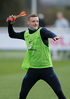 Jamie Vardy of England throws a soft rocket during the England National Team Training ahead of the international friendly match with Italy at Tottenham Hotspur Training Ground, Hotspur Way, England on 26 March 2018. Photo by Vince  Mignott.