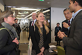 Sian Berry, Launch of Polysolar photovoltaic bus shelter, Canary Wharf, London.