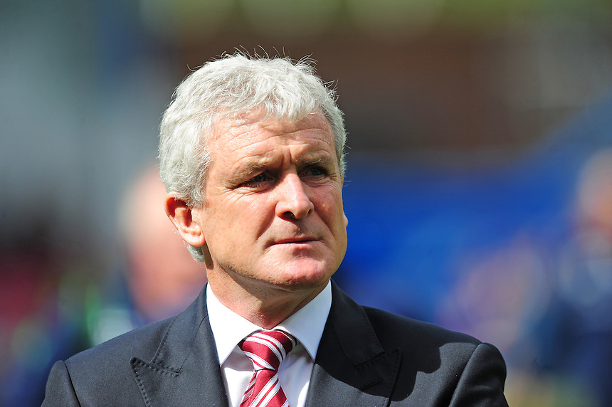 Stoke City manager Mark Hughes <br /> <br /> Photographer Chris Vaughan/CameraSport<br /> <br /> Football - Barclays Premiership - Burnley v Stoke City - Saturday 16th May 2015 - Turf Moor - Burnley<br /> <br /> &copy; CameraSport - 43 Linden Ave. Countesthorpe. Leicester. England. LE8 5PG - Tel: +44 (0) 116 277 4147 - admin@camerasport.com - www.camerasport.com