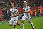 12.01.2018, BayArena, Leverkusen , GER, 1.FBL., Bayer 04 Leverkusen vs. FC Bayern M&uuml;nchen<br /> im Bild / picture shows: <br /> Torjubel / Jubel / Jubellauf,    Franck Ribery (Bayern Muenchen #7),  2:0 Rafinha (Bayern Muenchen #13),  <br /> <br /> <br /> Foto &copy; nordphoto / Meuter