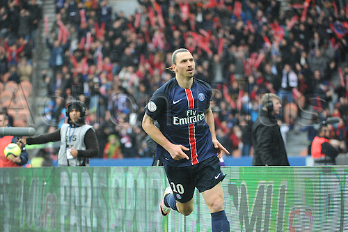 02.04.2016. Paris, France. French League 1 football. Paris St Germain versus Nice.  ZLATAN IBRAHIMOVIC (psg) celebrates his goal