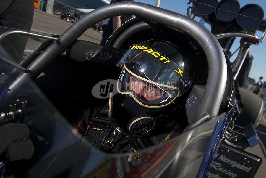 Mar. 12, 2011; Gainesville, FL, USA; NHRA top fuel dragster driver Stig Neergaard during qualifying for the Gatornationals at Gainesville Raceway. Mandatory Credit: Mark J. Rebilas-.