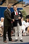 Dr. Bennie Lambert hakes hand of Joshua Brown who is the winner of the Niki Myers and Cher Brock Endowed Scholarship. This scholarship was established by Cher Brock, Lone Star College-Tomball vice president. Her connection with Carver Center created a desire to help Aldine Students succeed. She also honors her mother, Niki Myers, without whom the scholarship could not have been possible.