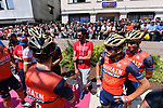 Bahrain-Merida team at sign on before Stage 20 of the 100th edition of the Giro d'Italia 2017, running 190km from Pordenone to Asiago, Italy. 27th May 2017.<br /> Picture: LaPresse/Gian Mattia D'Alberto | Cyclefile<br /> <br /> <br /> All photos usage must carry mandatory copyright credit (&copy; Cyclefile | LaPresse/Gian Mattia D'Alberto)