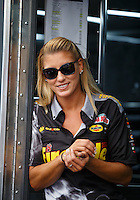 Sep 18, 2016; Concord, NC, USA; NHRA top fuel driver Leah Pritchett during the Carolina Nationals at zMax Dragway. Mandatory Credit: Mark J. Rebilas-USA TODAY Sports
