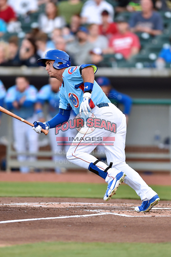 Tennessee Smokies right fielder Albert Almora Jr. (6) swings at a pitch during a game against the Chattanooga Lookouts on April 25, 2015 in Kodak, Tennessee. The Smokies defeated the Lookouts 16-10. (Tony Farlow/Four Seam Images)