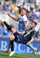 Ciro Immobile of Lazio and Mattia Bani of AC Chievo Verona compete for the ball during the Serie A 2018/2019 football match between SS Lazio and AC Chievo Verona at stadio Olimpico, Roma, April, 20, 2019 <br /> Photo Antonietta Baldassarre / Insidefoto