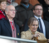 Bobby Charlton and his wife Norma during the Premier League match between Bournemouth and Manchester United at the Goldsands Stadium, Bournemouth, England on 18 April 2018. Photo by Andy Rowland.