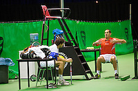 14-02-13, Tennis, Rotterdam, ABNAMROWTT, Practise, Robin Haase with his coach Marcos Gorriz.