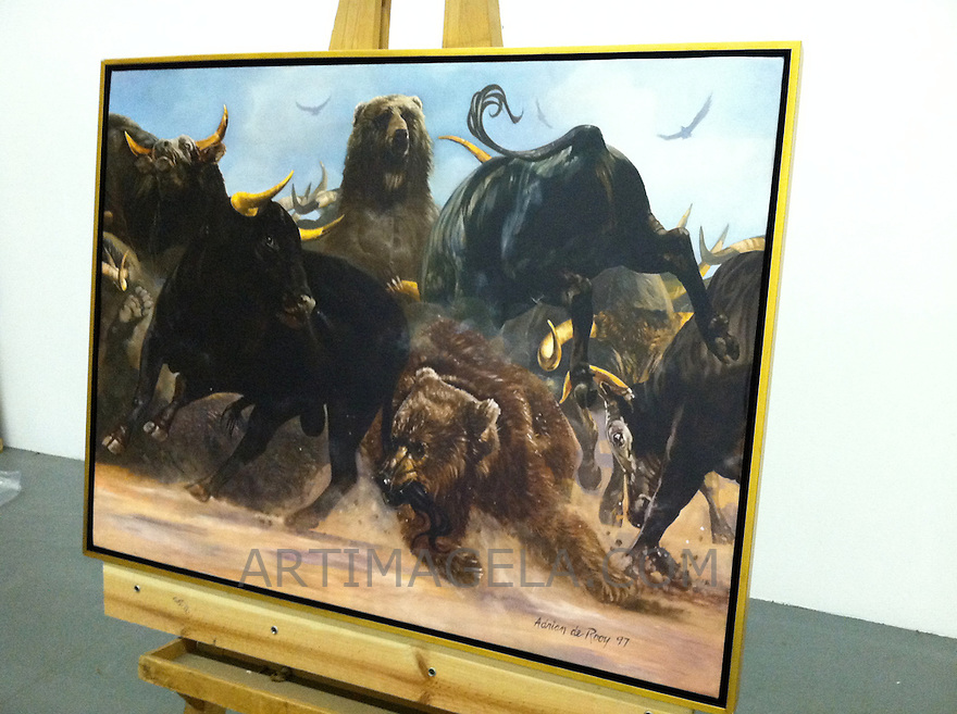 "Reproduction of Bear Bull Brawl By Adrian DeRooy Framed Gold Leaf 33"" x 43 1/2"