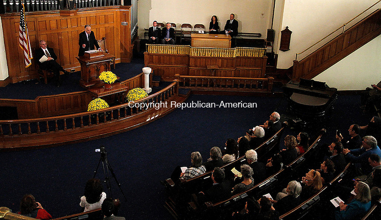 WINSTED, CT - 26 SEPTEMBER 2015 - 092615JW09.jpg -- Ralph Nader addresses an audience at the Winsted United Methodist Church Saturday morning. Nader spoke on the opening of the American Museum of Tort Law. Jonathan Wilcox Republican-American