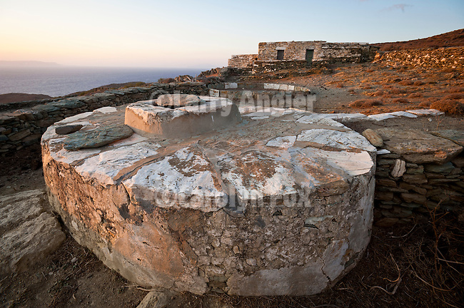 Water cistern and stone farm house near Chrysopigi Chapel and Cape Kyparissi, Folegandros, Cyclades, Greece