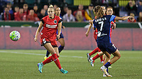 Portland, Oregon - Saturday July 9, 2016: Portland Thorns FC defender Kat Williamson (5) passes the ball during a regular season National Women's Soccer League (NWSL) match at Providence Park.
