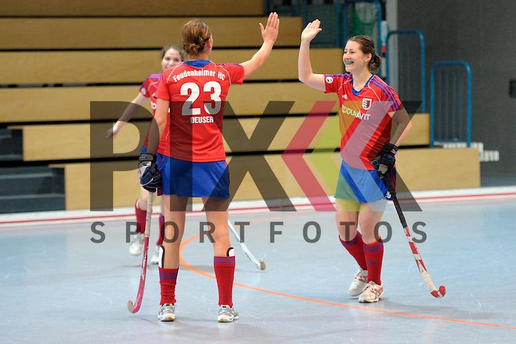 GER - Mannheim, Germany, January 17: During the Oberliga-Damen indoor hockey match between Feudenheimer HC (red) and  TSV Ludwigsburg (yellow) on January 17, 2016 at Irma-Roechling-Halle in Mannheim, Germany. Final score 8-2 (HT 3-1).  Stefanie Deuser #23 of Feudenheimer HC, Ilka-Maren Bessler #20 of Feudenheimer HC<br /> <br /> Foto &copy; PIX-Sportfotos *** Foto ist honorarpflichtig! *** Auf Anfrage in hoeherer Qualitaet/Aufloesung. Belegexemplar erbeten. Veroeffentlichung ausschliesslich fuer journalistisch-publizistische Zwecke. For editorial use only.