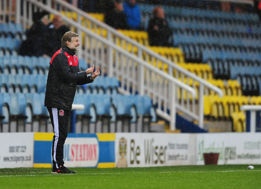 Fleetwood Town manager Steven Pressley shouts instructions to his team from the dug-out<br /> <br /> Photographer Chris Vaughan/CameraSport<br /> <br /> Football - The Football League Sky Bet League One - Peterborough United v Fleetwood Town - Saturday 14th November 2015 - ABAX Stadium - Peterborough<br /> <br /> &copy; CameraSport - 43 Linden Ave. Countesthorpe. Leicester. England. LE8 5PG - Tel: +44 (0) 116 277 4147 - admin@camerasport.com - www.camerasport.com