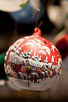 Christmas tree bauble snow scene at Christmas market, Winter Wonderland, in Hyde Park, London