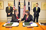Attorney-General Nicola Roxon and Minister for Justice and Home Affairs with US Secretary of Homeland Security Janet Napolitano sign joint statements between the Australian and the United State Governments on the topics of: Transnational crime and countering violent extremism, Global supply chain security, Frequent traveller facilitation, and Cooperative targeting, at Parliament House, Canberra, Friday 4th May 2012. Photo: Mark Graham